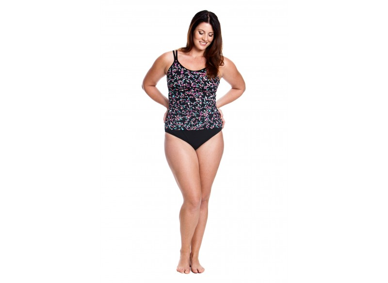 Midnight Daisy - Split Strap Tankini