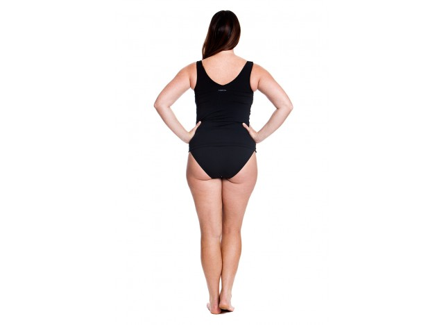 Still Black - Zip Front Tankini