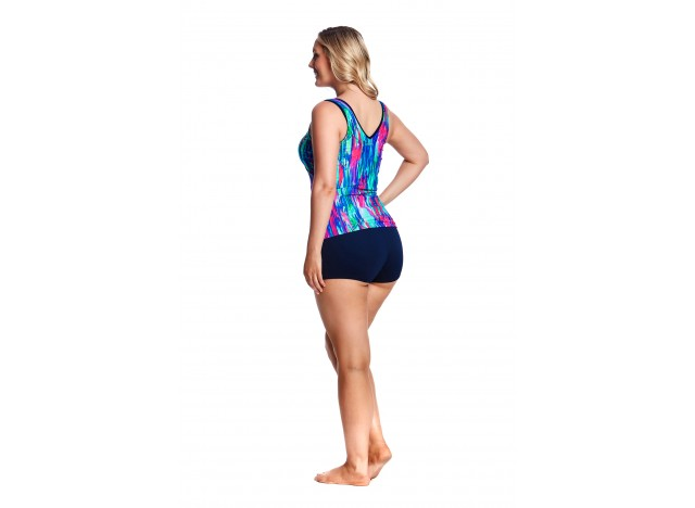 Brush Strokes - Zip Front Tankini